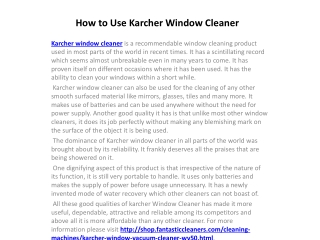 How to Use Karcher Window Cleaner