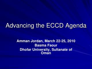 Advancing the ECCD Agenda