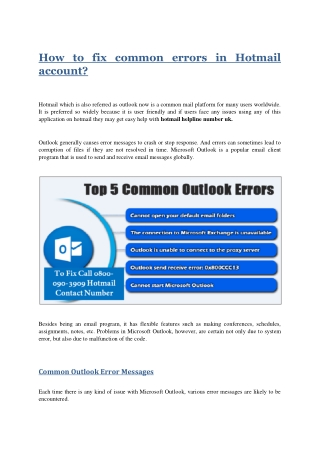 How to fix common errors in Hotmail account