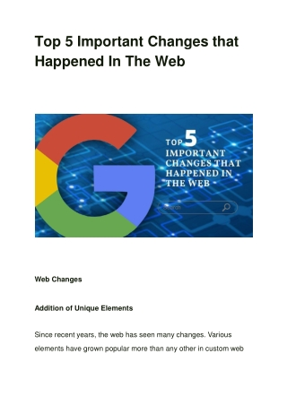 Top 5 Important Changes that Happened In The Web