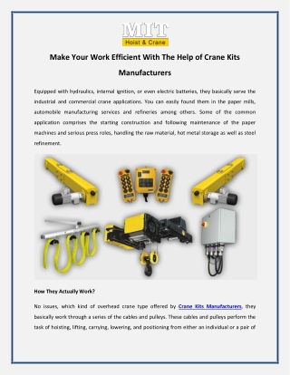 Make Your Work Efficient With The Help of Crane Kits Manufacturers