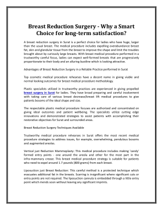 Breast Reduction Surgery - Why a Smart Choice for long-term satisfaction?