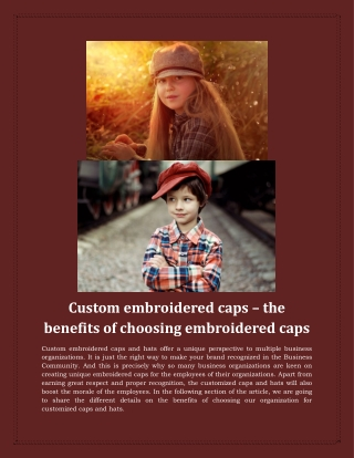 Custom embroidered caps – the benefits of choosing embroidered caps