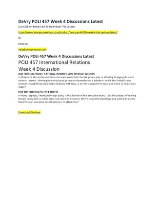 DeVry POLI 457 Week 4 Discussions Latest