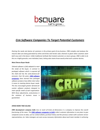 Crm Software Companies To Target Potential Customers