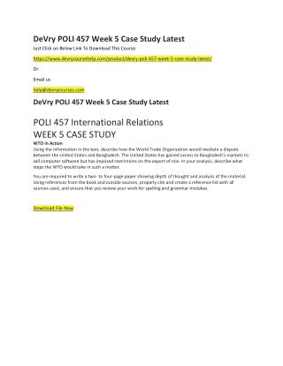 DeVry POLI 457 Week 5 Case Study Latest