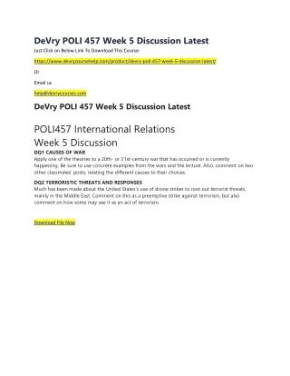 DeVry POLI 457 Week 5 Discussion Latest