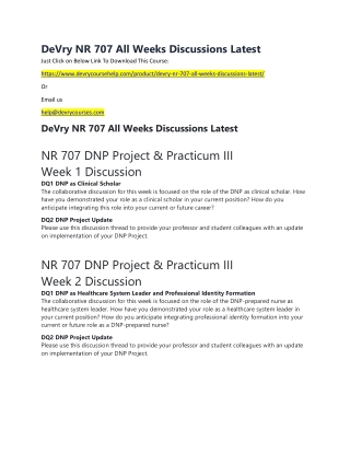 DeVry NR 707 All Weeks Discussions Latest