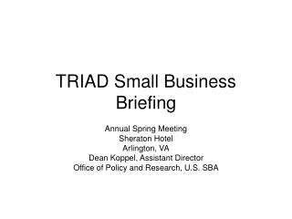 TRIAD Small Business Briefing