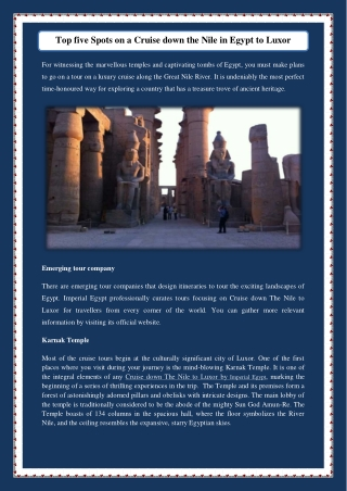 Top five Spots on a Cruise down the Nile in Egypt to Luxor