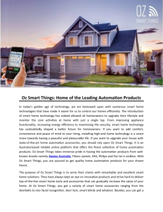 Oz Smart Things: Home of the Leading Automation Products