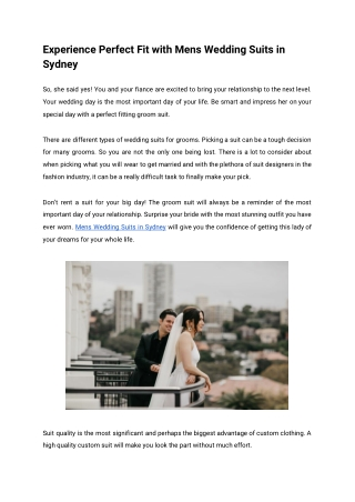 Experience Perfect Fit with Mens Wedding Suits in Sydney
