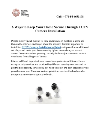 6 Ways to Keep Your Home Secure Through CCTV Camera Installation in Dubai