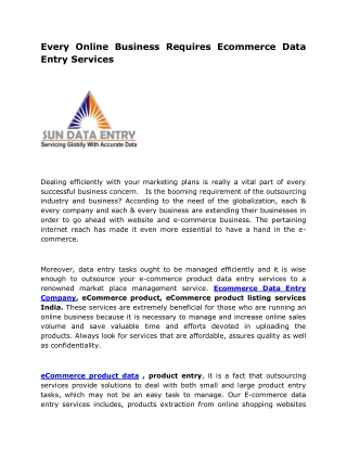 Every Online Business Requires Ecommerce Data Entry Services