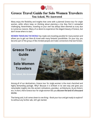 Greece Travel Guide for Solo Women Travelers - FAQs