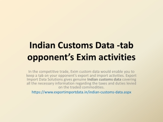 Click here for Indian Customs Import Data
