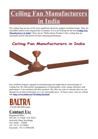 Ceiling Fan Manufacturers in India