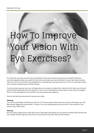 How To Improve Your Vision With Eye Exercises?