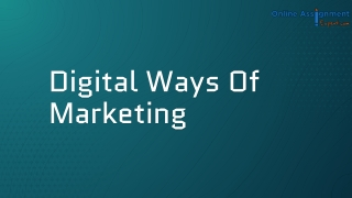 Digital Ways of Marketing