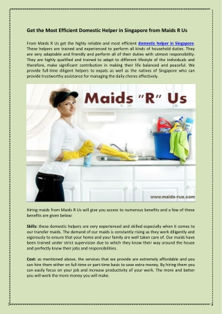 Get the Most Efficient Domestic Helper in Singapore from Maids R Us