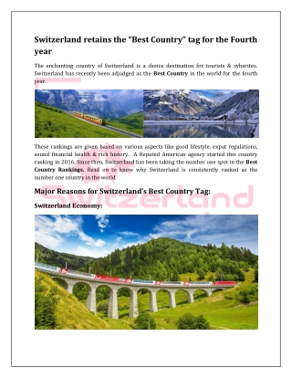 """Switzerland retains the """"Best Country"""" tag for the Fourth year"""