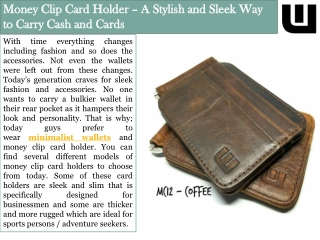 Money Clip Card Holder – A Stylish and Sleek Way to Carry Cash and Cards