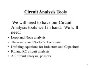 Circuit Analysis Tools
