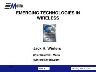 EMERGING TECHNOLOGIES IN WIRELESS