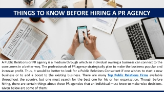 Things to know before Hiring a PR Agency