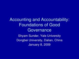 Accounting and Accountability: Foundations of Good Governance