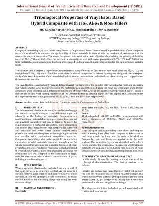 Tribologoical Properties of Vinyl Ester Based Hybrid Composite with Tio2, Al2o3 and Mos2 Fillers