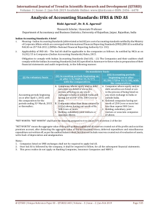 Analysis of Accounting Standards IFRS and IND AS