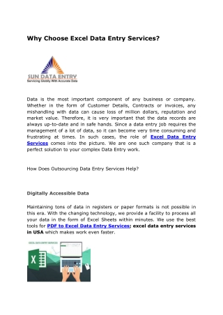 Why Choose Excel Data Entry Services?