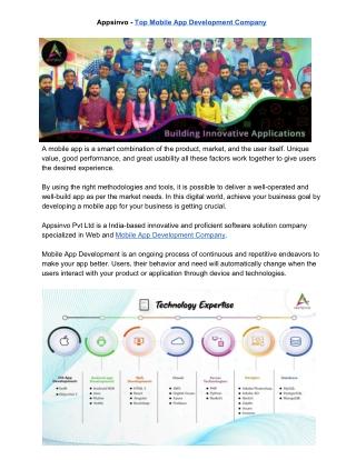 Appsinvo - Top Leading Mobile App Development Company in India