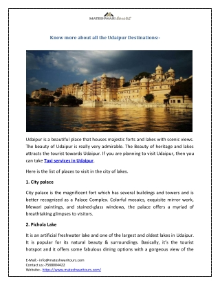 Know more about all the Udaipur Destinations:-