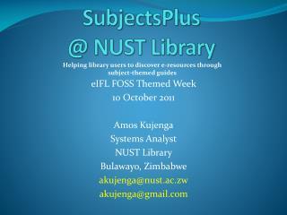 SubjectsPlus @ NUST Library