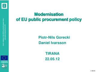 Modernisation of EU public procurement policy