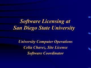 Software Licensing at  San Diego State University