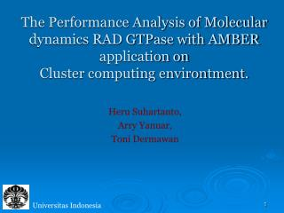 The Performance Analysis of Molecular dynamics RAD GTPase with AMBER application on Cluster computing environtment.