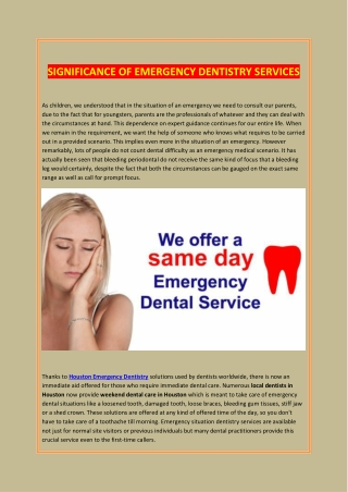 SIGNIFICANCE OF EMERGENCY DENTISTRY SERVICES