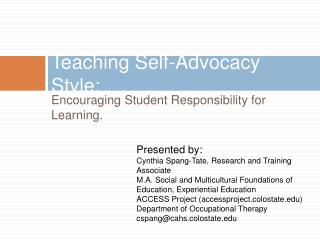 Teaching Self-Advocacy Style:
