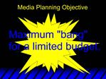 Media Planning Objective