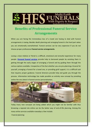 Benefits of Professional Funeral Service Arrangements