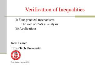 Verification of Inequalities