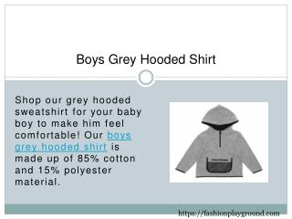 Boys Grey Hooded Shirt