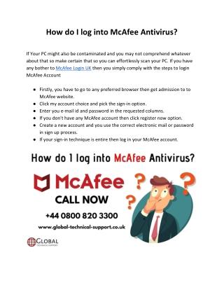 How do I log into McAfee Antivirus
