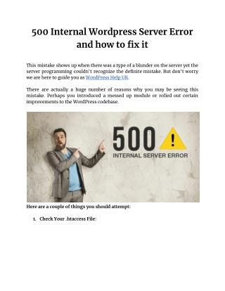 500 Internal Wordpress Server Error and how to fix it