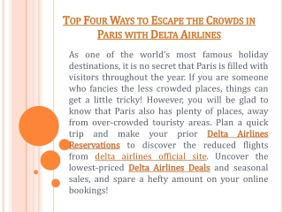 Top Four Ways to Escape the Crowds in Paris with Delta Airlines