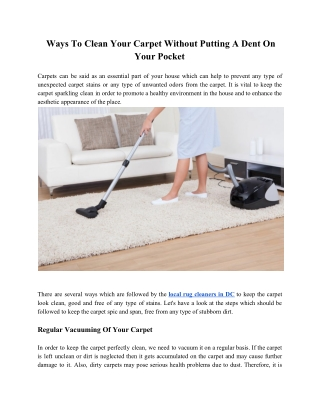 Ways To Clean Your Carpet Without Putting A Dent On Your Pocket