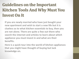Guidelines on the Important Kitchen Tools And Why Must You Invest On It